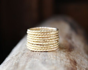 faceted gold ring, gold filled stacking rings, set of 3, sparkle rings, thin gold ring trio, skinny ring gift for wife girlfriend
