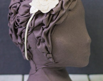Ivory Floral Motif Lace and Sequin Headband