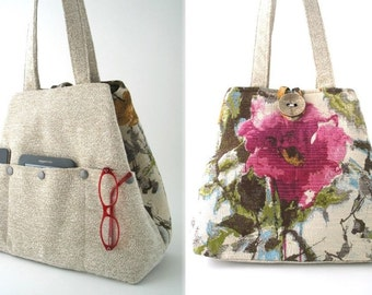 large handbag, floral tote bag, pink bag, shoulder bag, beige purse, shoulder tote bag, retro bag, womens bag, floral purse