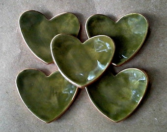 FIVE  Ceramic Heart ring bowls itty bittys Avocado green edged in gold