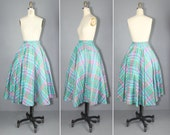 circle skirt / vintage skirt / plaid / SOCK HOP 1950s skirt
