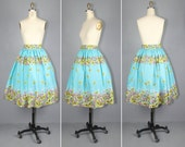 novelty skirt / 1950s / butterfly / FLOATING ON WIND vintage cotton skirt