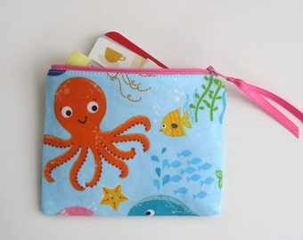 Sea Life Coin Purse, Zipper Pouch for Girls, Octopus, Jelly Fish, Star Fish, Whale, Beach Bag Accessory