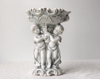 Cherubs Ceramic Compote, Vintage Neoclassical Figural Soap Dish, Cottage Chic Home Decor, Romantic Wedding Table Centerpiece