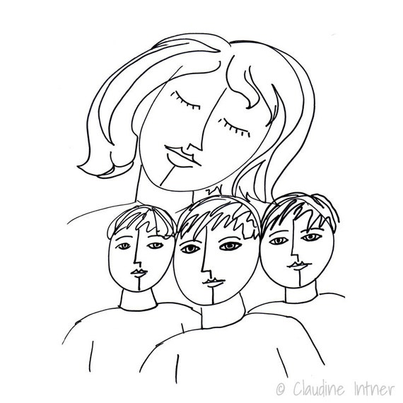 Mother of Three Boys Print - Mother and Sons, Mother Art, Family Portrait, Children Art Print, Mom Gift, Line Drawing, Giclee, Mothers Day