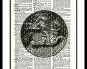 Knight Horse Dictionary Art Print Wall Art Upcycled Recycled Wall Hanging Home Decor Mixed Media Suit of Armor Print Paperink Graphics