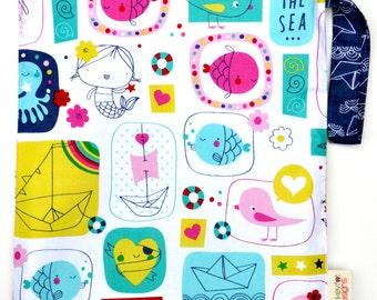 Medium 11 x 14 Wet bag /  Swim / Diapers / Gym /  Maritime Melody Mermaid Fabric  / SEALED SEAMS and Snap Strap