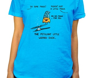 Petulant Wizard Duck Scoop Neck Tshirt - Cute Duck Shirt