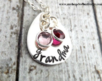 Grandmother necklace-personalized necklace-Grandma necklace-hand stamped jewelry-sterling silver necklace-mothers day gift-mommy necklace