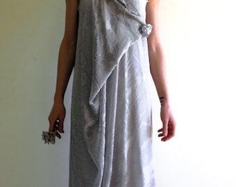gray bridal dress, prom silk dress, flapper velvet dress, infinity dress, grecian goddess dress, maternity dress