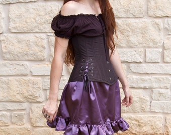 Purple Satin Mini Ruffle Skirt Fairy Costume