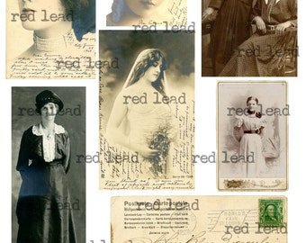 "Digital Vintage Photos Collage Sheet - 8-1/2"" x 11"" - Ancestors 38"