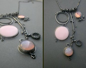 soft pale pink sculptural large necklace wearable art jewelry modern vintage glass necklace oxidized silver
