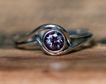 Alexandrite ring, June birthstone ring, alexandrite engagement ring, unique silver ring, mini pirouette ring, recycled silver ring, custom
