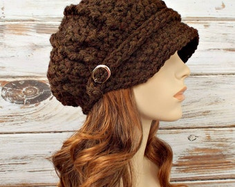 Crochet Hat Womens Hat Brown Newsboy Hat Brown Hat - Spring Monarch Ribbed Crochet Newsboy Hat in Walnut Brown Crochet Hat - READY TO SHIP