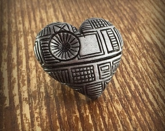 Death Star Inspired Heart Adjustable Ring