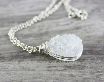White Druzy Necklace, Wedding Jewelry, Bridal Necklace, White Gemstone Necklace, Teardrop Druzy Necklace, Sterling Silver Necklace, Pendant