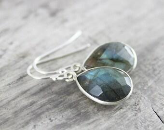 Labradorite Earrings, Sterling Silver Earrings, Labradorite Gemstone Earrings, Gemstone Bezel Earrings, Silver Dangle Earrings, Handmade