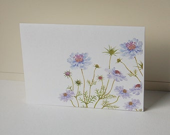 Blue Flower Cards, Blank Note Cards Set, Flower Note Cards, Thank You Card, All Occasion Cards, Greeting Cards, Note Cards