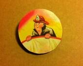Fireman Wooden Brooch