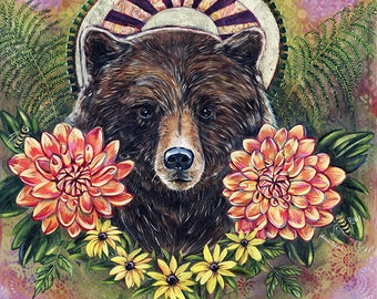 """Bear Print on Wood 6x6 inches """"Born to Be Wild"""""""