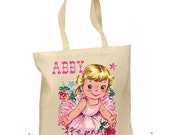 Ballet Bag Personalized - Toddler Ballet Tote - Dance Bag Girl - Vintage Ballerina Bag - Tote Retro Gift Ballerina Canvas Choose Hair Color