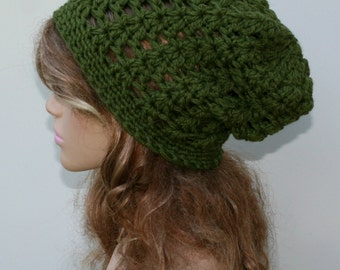 Woman crochet hat - wool slouchy beanie, thick Slouchy Beanie hat, women hat, olive green, baggy beanie, slouch hat beanie, wool beanie hat