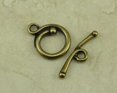 1 TierraCast Renaissance Toggle Clasp > Round Swirl Spiral Flourish - Brass Ox Plated Lead Free Pewter - I ship Internationally 6218