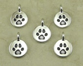 5 TierraCast Round Dog Paw Charms > Bangle Puppy Canine Best Friend Doggy - Silver Plated Lead Free pewter - I ship Internationally 2420