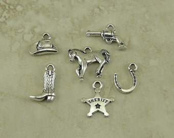 6 Cowboy Western Charms Mix Pack > Horse Badge Hat Boot Gun - Fine Silver Plated Lead Free Pewter - I ship internationally