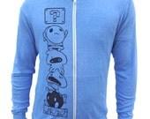 Mario Gamer Hoodie, Zip Up Sweatshirt, Blue Hoodie for Men, Zip up hoodie, Hooded Sweatshirt, Funny Mario Villains, Comic Shirt, Geek gift