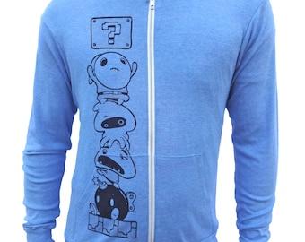 Mens Hoodie, Zip Up Hoodie, Funny Sweatshirt, Men Sweatshirt, Hooded Sweatshirt, Gamer Hoodie, Nintendo Hoodie, Super Mario Hoodie