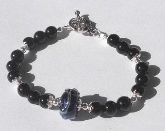 "MIDNIGHT Deep Blue Artisan Lampwork Gemstone Black Onyx Silver-tone 6-3/4"" Bracelet"