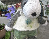 Knit, Stuffed, Puppy Dog Doll, Hand Knit, Heirloom Collectible/ Ursula, One of a Kind