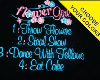 Ring Bearer or Flower Girl bodysuit T-shirt Embroidered Newborn to 5T Wedding Childrens Baby