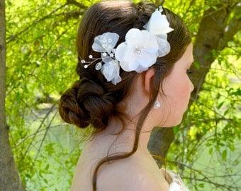 Beaded Swarovski Crystal and Pearl White Silk Organza Bridal Hair Flower Wedding Hairpin