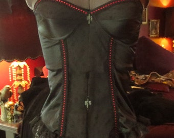 Vintage 1970's Black Teddy Pin-Up Lace Red Satin Ribbon Garter Corset