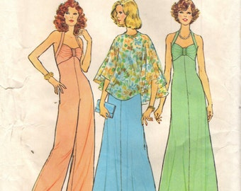 Simplicity 6939 Halter Dress Halter Jumpsuit and Poncho VINTAGE © 1975