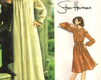 Vogue 2975 STAN HERMAN Loose Fitting Lounge Dress VINTAGE 1970s c. 1973 Bust 34 Vogue Americana Very Easy Vogue