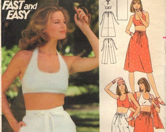 Butterick 4855 HALTER TOP ENSEMBLE Skirt, Pants, Shorts Size 11 / 12 Uncut 1970s