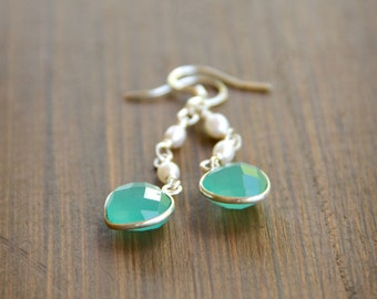 Sweet Aqua Chalcedony Gemstone Earrings with Freshwater Pearls and Sterling Silver