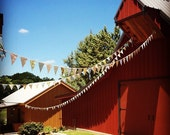Custom Wedding Bunting, 80' Fabric Flag Banner Decorations in Your Chosen Colors.  TWO X 40 Foot Bunting
