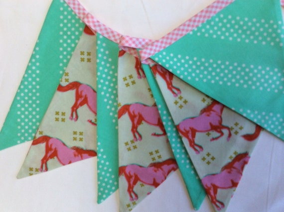 Mint horse theme fabric flag bunting ready 2 ship photography for Kids horse fabric