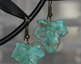 Verdigris Leaf Earrings Detailed Leaf Dangle on Antique Brass Finish Lightweight Metal Earrings