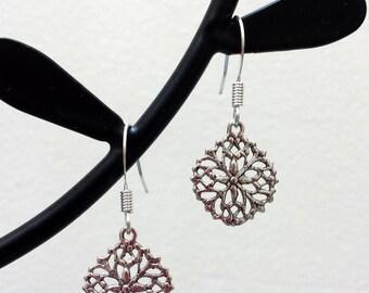 Dainty Silver Earrings Small Floral Earrings Round Medallion Filigree Lightweight Metal Earrings with Fishhook Earwires