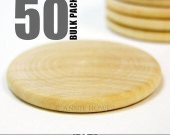 50 Round 1.5 Inch Craft Wood Disks for Pendants, Magnets, Scrapbooking, and More. Bulk Lot.