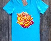 Lotus Batik t shirt hand painted & hand dyed Eco friendly women turquoise - Yoga clothes - size XS, S, M, L, XL,XXL