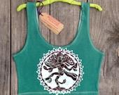 Batik Shiva tank crop top women teal green athletic yoga - Tops & Tees -