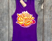 Lotus flower ribbed tank Tops & Tees, boho festival top, Yoga top, womens clothing hand painted hand dyed purple batik clothing yoga clothes