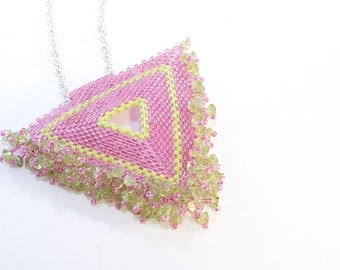 Beaded Triangle Necklace, Pink and Green, Peridot, Pendent, Seed Beads, Beadwork